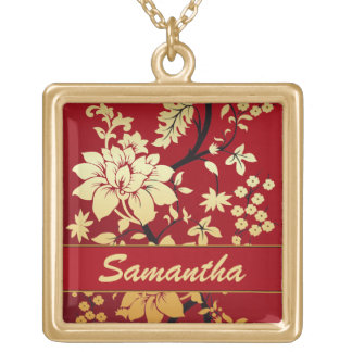 Personalized Oriental Golden Flowers on Red Square Pendant Necklace