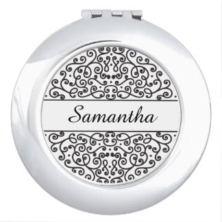 Personalized Ornate Black and White Bridesmaid Vanity Mirror