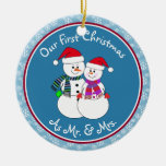 Personalized~Our 1st Christmas As Mr. & Mrs. Double-Sided Ceramic Round Christmas Ornament