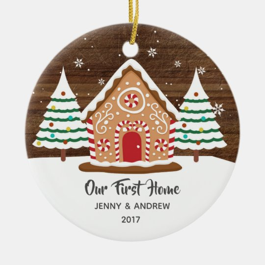 6ac1767775453 Personalized Our New Home Gingerbread Ornament