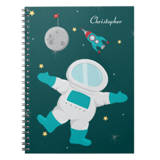 Personalized outer space astronaut notebook