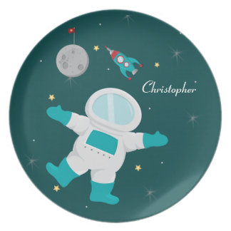 Personalized outer space astronaut + rocket plate