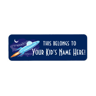 Personalized Outer Space Rocket Kids Boys School Label