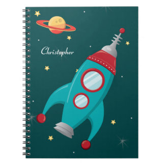 Personalized outer space rocket ship notebook