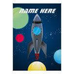 Personalized Outer Space Rocket Ship Poster