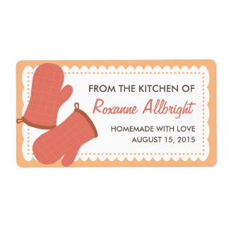 Personalized Oven Mitts Canning Label (mango)