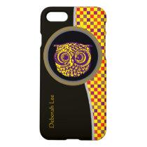 personalized owl bird yellow pixels iPhone 8/7 case