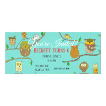 Personalized Owl birthday invitation