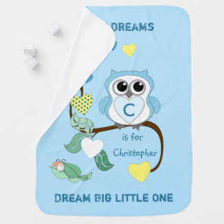 Personalized Owl blue baby Swaddle Blanket