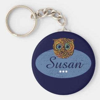 personalized owl blue keychain