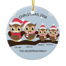 Personalized Owl Family Of 4 Christmas Ceramic Ornament