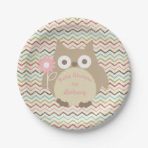 Personalized Owl Girl Baby Shower Colorful Chevron Paper Plate