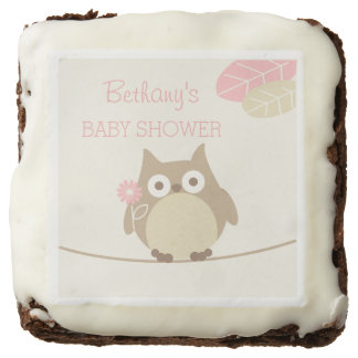 Personalized Owl Girl Baby Shower Favors Chocolate Brownie