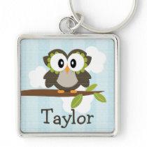 Personalized Owl Keychain Keyring Blue