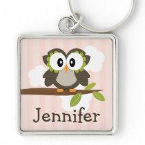 Personalized Owl Keychain Keyring Pink