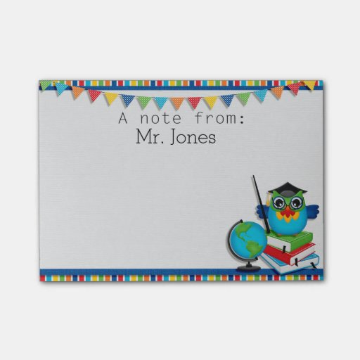 Personalized Owl on Books Teachers Post It Notes Post-it(r) Notes