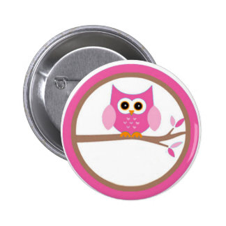 Personalized owl pink 2 inch round button