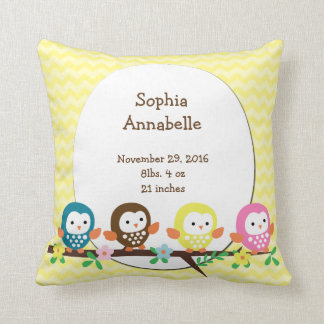Personalized Owls on Branch Chevron Pillow
