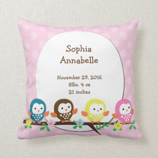 Personalized Owls on Branch Polka Dot Pillow