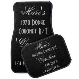 Personalized Owner And Car Names With Time Specs Car Floor Mat