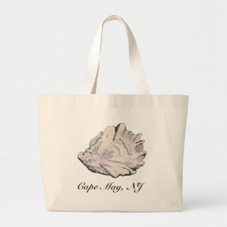 Personalized Oyster Watercolor Large Tote Bag