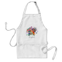 Personalized Paint splash Butterflies Pop Art Adult Apron