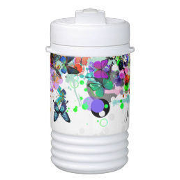 Personalized Paint splash Butterflies Pop Art Beverage Cooler