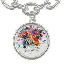 Personalized Paint splash Butterflies Pop Art Charm Bracelet
