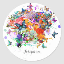 Personalized Paint splash Butterflies Pop Art Classic Round Sticker