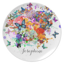 Personalized Paint splash Butterflies Pop Art Dinner Plate