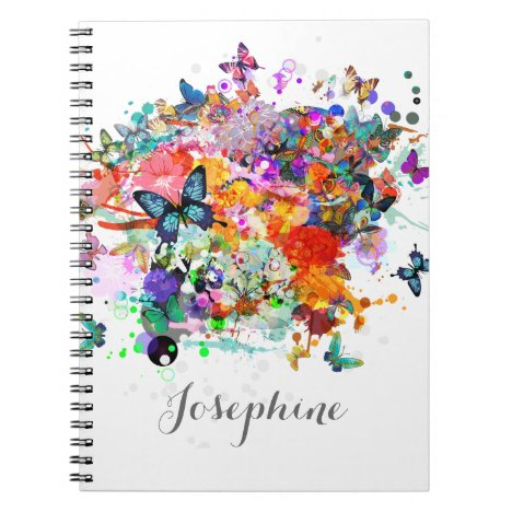 Personalized Paint splash Butterflies Pop Art Notebook