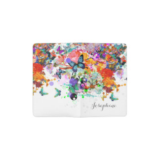 Personalized Paint splash Butterflies Pop Art Pocket Moleskine Notebook