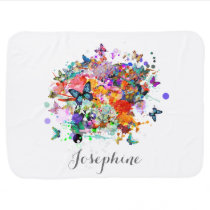 Personalized Paint splash Butterflies Pop Art Receiving Blanket