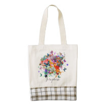 Personalized Paint splash Butterflies Pop Art Zazzle HEART Tote Bag