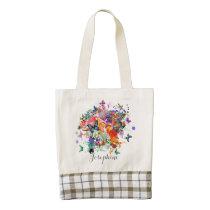 Personalized Paint splash Butterflies Pop Art Zazzle HEART Tote Bag