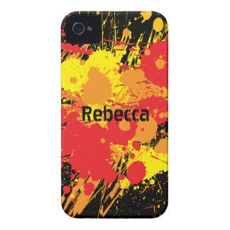 Personalized Paint Splat Fire on black background iPhone 4 Covers