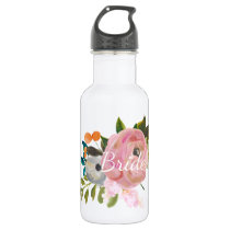 Personalized Painted Floral Bride Waterbottle Stainless Steel Water Bottle