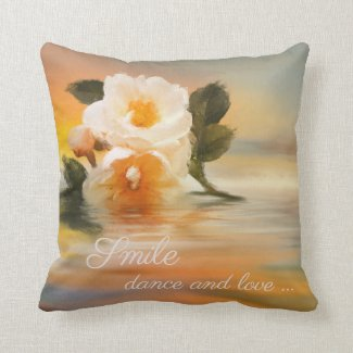 Personalized Painted Rose on Water Pillow