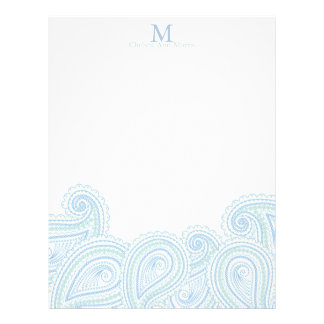 Personalized Paisley Waves Stationary Customized Letterhead