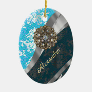 Personalized pale blue pretty girly damask pattern ceramic ornament