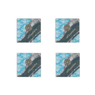 Personalized pale blue pretty girly damask pattern stone magnet