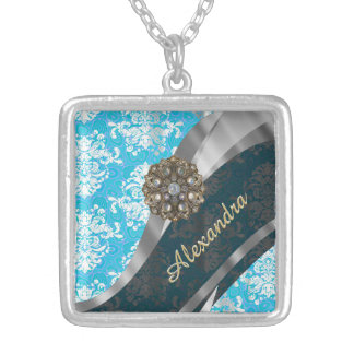 Personalized pale blue pretty girly damask pattern square pendant necklace