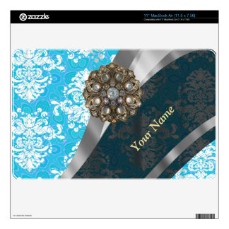 "Personalized pale blue vintage damask pattern 11"" MacBook air skins"
