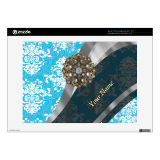 Personalized pale blue vintage damask pattern acer chromebook decals
