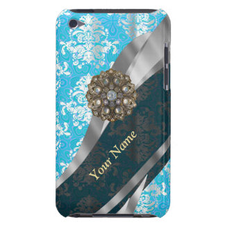 Personalized pale blue vintage damask pattern barely there iPod case