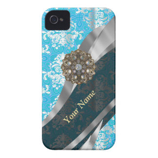 Personalized pale blue vintage damask pattern iPhone 4 case
