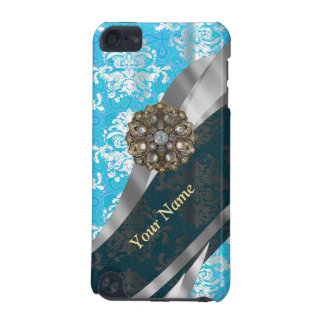 Personalized pale blue vintage damask pattern iPod touch 5G cover