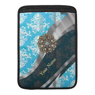 Personalized pale blue vintage damask pattern MacBook air sleeve