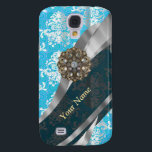 "Personalized pale blue vintage damask pattern samsung galaxy s4 case<br><div class=""desc"">Pretty chic classy personalized pale pastel blue and white colored vintage damask lace pattern with a feminine elegant sophisticated silver pewter swirl patterned design and a diamond rhinestone bling jewel graphic Personalize with your on name or monogram initials to the text templates to create your own unique custom design. PLEASE...</div>"