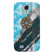 Personalized pale blue vintage damask pattern samsung galaxy s4 case